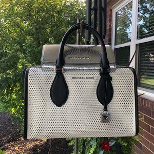 Michael Kors Perforated Bag & Silver wallet